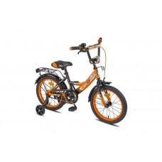 """16"""" Велосипед  MAXXPRO-16-3 (оранжево-черный) багажник, длинное крыло"""