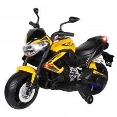 Мотоцикл двухколесный на аккум.2*6V4Ah. USB, MP3, колеса пластик, 2 двигателя*390W, свет LED, желтый